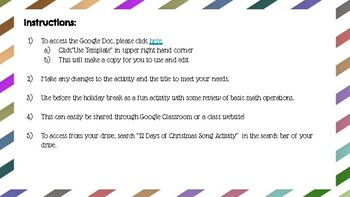 12 Days of Christmas Song Activity - Google Doc