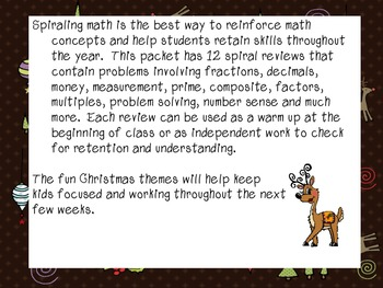 12 Days of Christmas Spiral Reviews - 5th Grade Math
