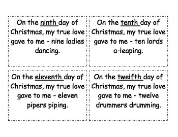 12 Days of Christmas:  Story Problems and Ordinals