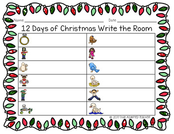 12 Days of Christmas Write the Room and ABC Order