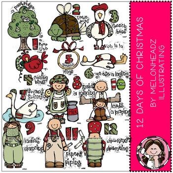 Melonheadz: 12 Days of Christmas clip art - Combo Pack