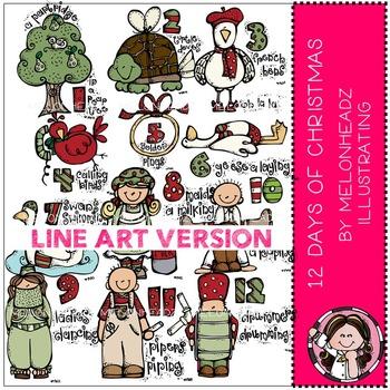 Melonheadz: 12 Days of Christmas clip art - LINE ART