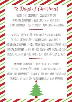 12 Days of Christmas for Students ENGLISH AND SPANISH