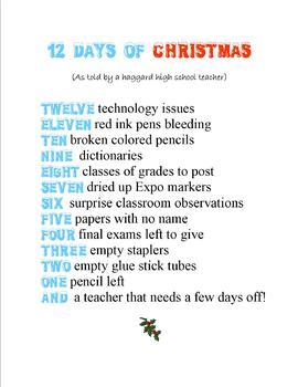 12 Days of Christmas (for teachers)