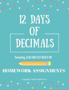 12 Days of Decimals Homework