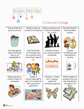 12 Days of Giving Holiday Choice Board (Freebie)