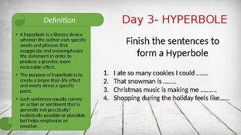 12 Days of Literary Devices! Christmas Holiday Themed. Use as a DO-NOW Activity