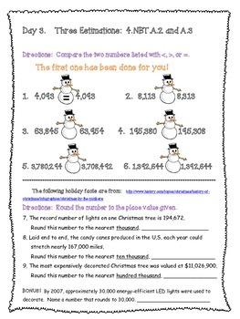Christmas Grade 4 Math Packet Sampler