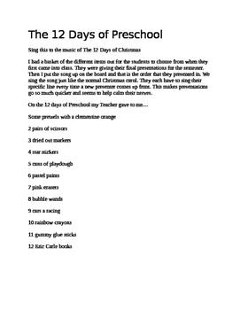 12 Days of Preschool Song