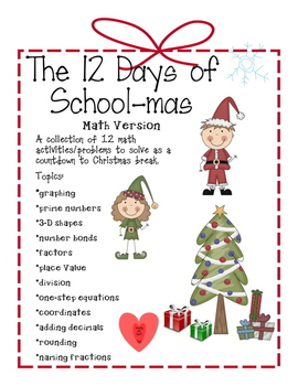 12 days of school mas math activitiesproblems