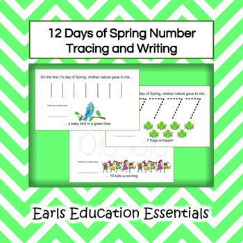 12 Days of Spring Number Tracing and Writing