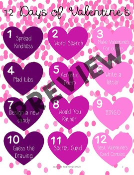 12 Days of Valentine's Activities