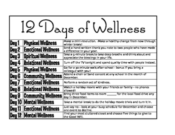 12 Days of Wellness Staff Challenge