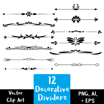 12 Decorative Text Dividers | Flourish Border | Vector Clip Art | PNG, AI, EPS