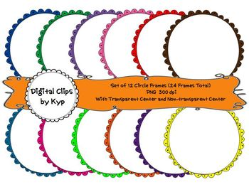 12 Different Colored Circle Doodle Frames (for personal or