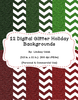 Holiday Background Paper - Giltter Style!!!  - Plain & Chevron - 8.5  x 11