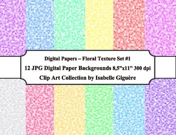 Digital Papers Background - 12 Floral Texture - Set #1 (Commercial Use)