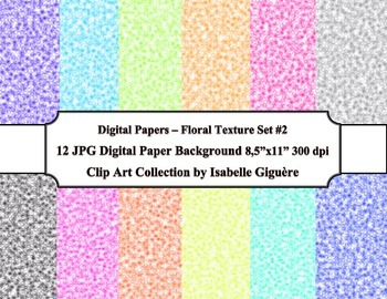 Digital Papers Background - 12 Floral Texture - Set #2 (Commercial Use)