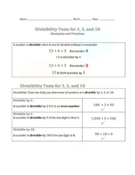 1.2 Divisibility Tests for 2, 5 and 10