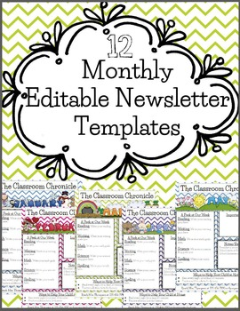 12 EDITABLE Monthly Newsletter Templates