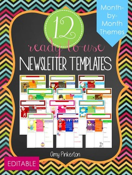 12 EDITABLE Themed Class Newsletter Templates (Month-by-Month)