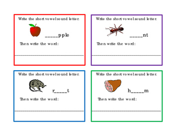 12 ELA Task Cards Write Short A Short E Vowel Sound Letters Picture Word 3pages