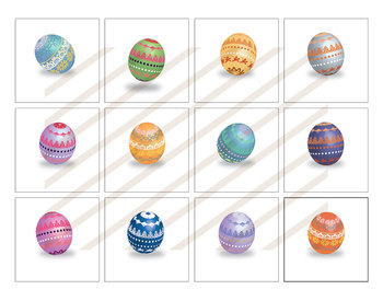 12 Easter Eggs in Bright Colors - 3D Shapes - High Resolution Clip Art