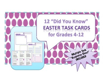 "12 Easter Task Cards - ""Did You Know?"" Fun Facts with Self"