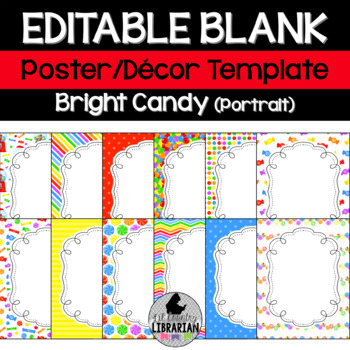 12 Editable Bright Candy Classroom Poster Templates PowerPoint {Portrait}