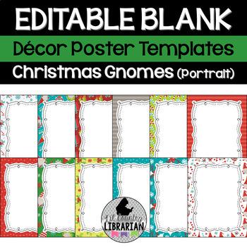 12 Editable Christmas Gnomes Decor Poster Templates (Portrait) PPT