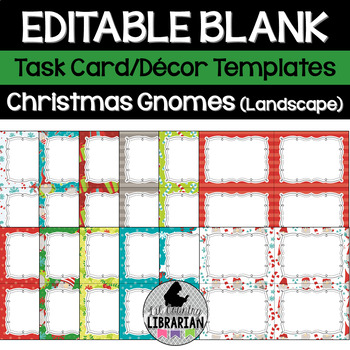 12 Editable Christmas Gnomes Task Card Decor Templates (Landscape) PPT