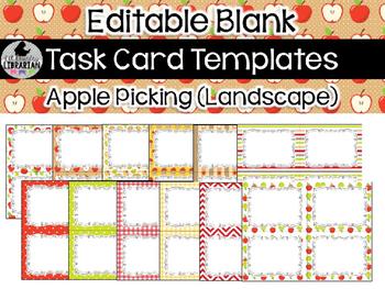 12 Editable Task Card Templates Apple Picking (Landscape)