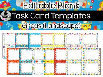 12 Editable Task Card Templates Circus (Landscape) PowerPoint