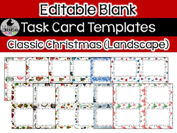 12 editable task card templates classic christmas landscape powerpoint
