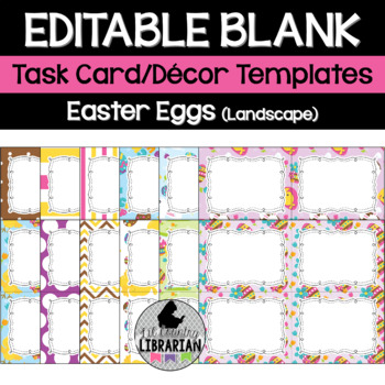 12 Editable Task Card Templates Easter Eggs (Landscape) Po