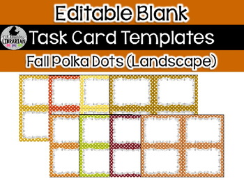 8 Editable Task Card Templates Fall Polka Dots (Landscape) PowerPoint