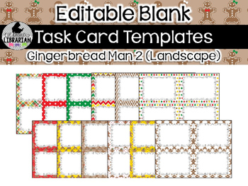 12 Editable Task Card Templates Gingerbread Man 2 (Landscape) PowerPoint