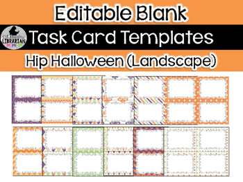 12 Editable Task Card Templates Hip Halloween (Landscape)