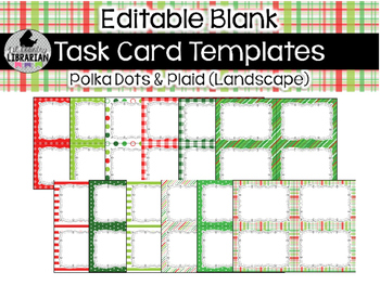 12 Editable Task Card Templates Polka Dots and Plaid (Landscape) PowerPoint