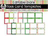 12 Editable Task Card Templates Polka Dots and Plaid (Landscape) PowerPoint