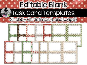 12 Editable Task Card Templates Shabby Christmas (Landscape) PowerPoint