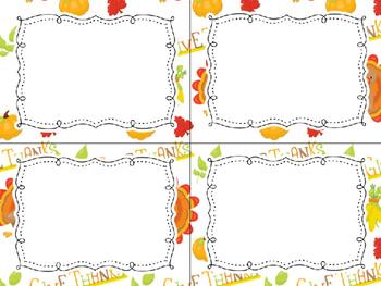 12 Editable Task Card Templates Thanksgiving (Landscape) PowerPoint