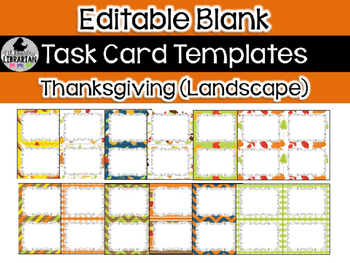 12 Editable Task Card Templates Thanksgiving (Landscape) P