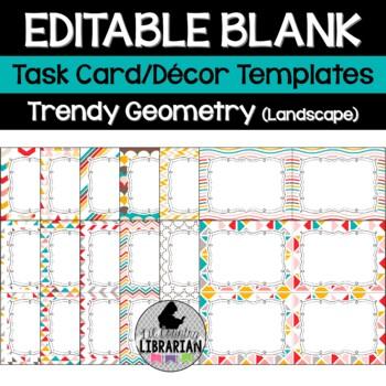12 Editable Task Card Templates Trendy Geometry (Landscape) PowerPoint Math