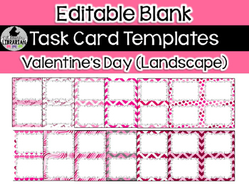 12 Editable Task Card Templates Valentine's Day (Landscape) PowerPoint