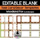 12 Editable Task Card Templates Woodland Fox (Landscape) PowerPoint