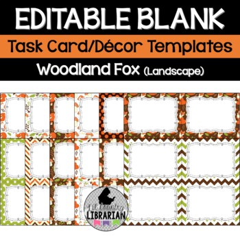 12 Editable Task Card Templates Woodland Fox (Landscape) PowerPoint