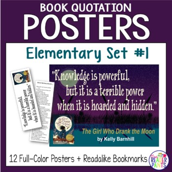 12 Elementary Book Quotation Posters & Readalike Bookmarks (Set 1)
