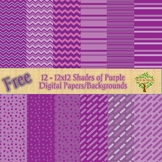 12 FREE 12x12 Shades of Purple Digital Papers/Backgrounds