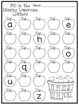 12 Fall Apple Alphabet Worksheets. Preschool-Kindergarten ...